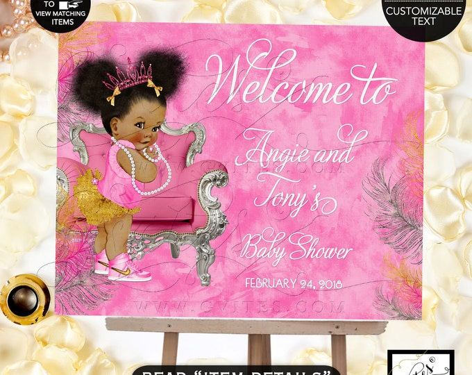 "Pink Gold & Silver Baby Shower Welcome Sign, Fuchsia tiaras tutus diamonds pearls vintage, Afro Puffs, 7x5"" Double Sided. Gvites"