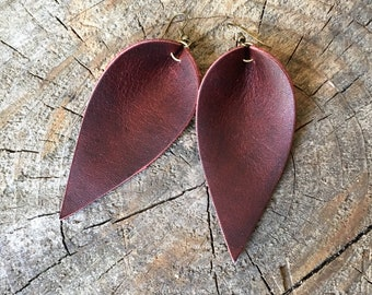 Red Leather Earrings, Joanna Gaines Inspired, Burgundy Red, Leather Leaf Earrings, Inspired By Joanna Gaines Earrings