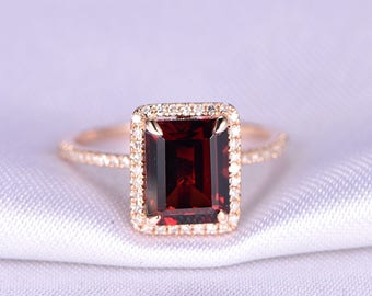 Garnet Ring 7x9mm Emerald Cut Garnet Engagement Ring Diamond Ring Diamond Wedding Band Solid 14k Rose Gold Promise Ring Anniversary Ring