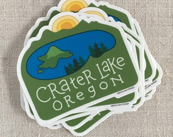 Crater Lake Oregon Vinyl Sticker / Illustrated Waterproof Sticker / Crater Lake National Park / Cool Laptop Sticker / Oregon Travel Memento