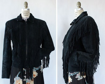 Black Suede Fringe Jacket S • Fringe Moto Jacket • Fringe Jacket • Motorcycle Jacket • Suede Fringe Jacket • Leather and Suede Coat • O602