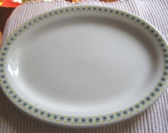 Oval restaurant platter 1950s green stars with yellow
