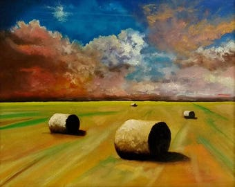 Haystacks Field - Limited Edition  A3 Print Of Original Oil Painting Landscape Sky