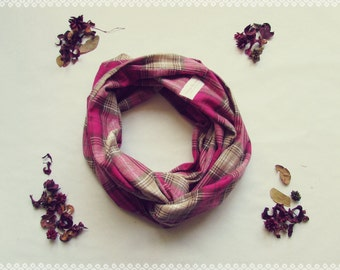 Plaid Loop Scarf in Cherry Blossom - Autumn, Fall, Soft, Pink Plaid Infinity Scarf, Perfect Gift for Her and Fall Fashion Accessory
