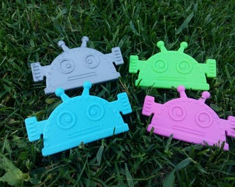 SALE! Sew-In Silicone Robot Teethers. (Lot of 1,  10,  20)