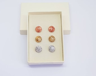 Stud earrings, resin earrings, gold studs, silver studs, copper studs, bridal gift, bridesmaid gift, birthday gift, gift idea