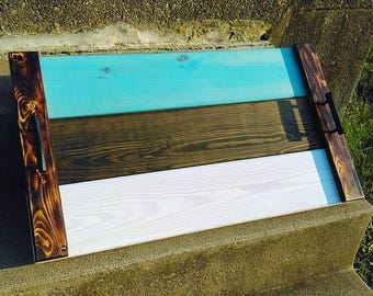 Large Multi Color Custom Wooden Serving Tray Teal With Handles Scorched