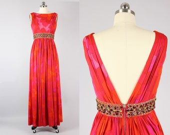 Vintage 1960s Malcolm Starr Coral Pink Bead Encrusted Evening Gown