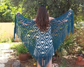 Blue crochet shawl  Gypsy knit wrap shawl  Bohemian clothing Crocheted Shawl