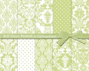 "Damask digital paper : ""Soft Green Damask"" green digital paper with damask patterns for wedding invitations, scrapbooking, cards"