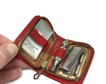 Gillette Travel Safety Razor and Razor Blades in Red Leather Case