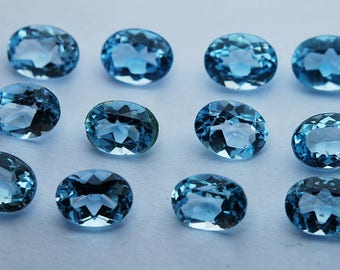 6 Pieces,Finest Quality,Sky Blue Topaz Faceted Oval Shaped Loose Stones,6x8mm,Finest Quality