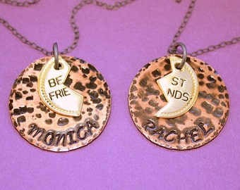 Best Friends Necklace Set - Hand Stamped - Personalized Gift - Two Necklaces