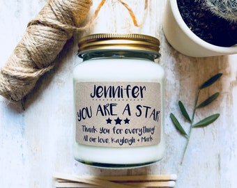 Personalised 'You are a Star' Soy Scented Candle, Thank you gift, thanks for everything, gift for a friend, thanks a lot