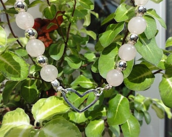 Soaz - Rose quartz and silver stone necklace 925 Sterling