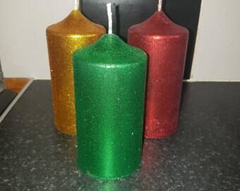 3 medium glitter pillar candles