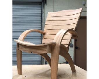African Mahogany Contemporary Adirondack Chair   Unique Redesign Of The  Classic Garden Chair
