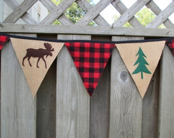 Buffalo Plaid Burlap Bunting Appliqued Wool Felt Moose Pine Trees Red & Black Banner Garland