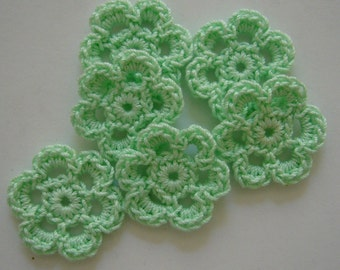 Mini Six Crocheted Flowers - Mint Green - Cotton Flowers - Crocheted Flower Appliques - Crocheted Flower Embellishments - Set of 6