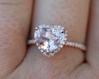 Engagement ring. Heart sapphire rose gold ring. 2.9ct Heart Peach sapphire sapphire 14k rose gold diamond ring by Eidelprecious