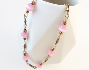 Vintage Beaded Necklace -- Long Chain -- Pink Beads and Brass Links -- UK Shop