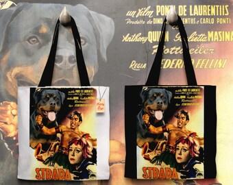 Rottweiler Art Tote Bag - LA STRADA Movie Poster