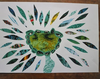 Mixed Media and Collage (green) Artwork
