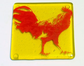 Rooster Fused Glass Coaster, Farm Coaster, Glassware, Drink Coaster