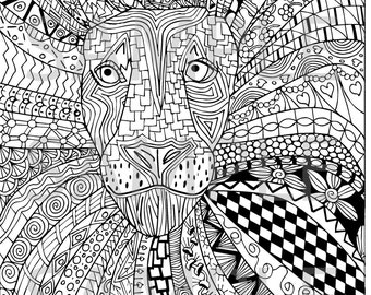 Lion Zentangle Adult Coloring Page - Instant Download Ready to Print and Color *** DIY *** PDF ***