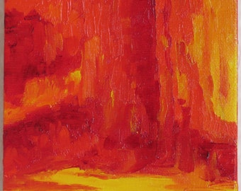 Original Abstract Oil Painting: Fire
