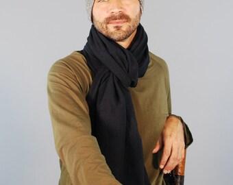 Écharpe unisexe - foulard en Jersey pour homme foulard - chanvre coton bio - noir - Eco Friendly-