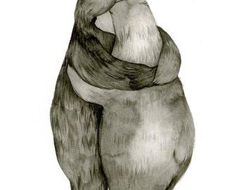 5x7 Bear Hug - Love - Original Illustration Print