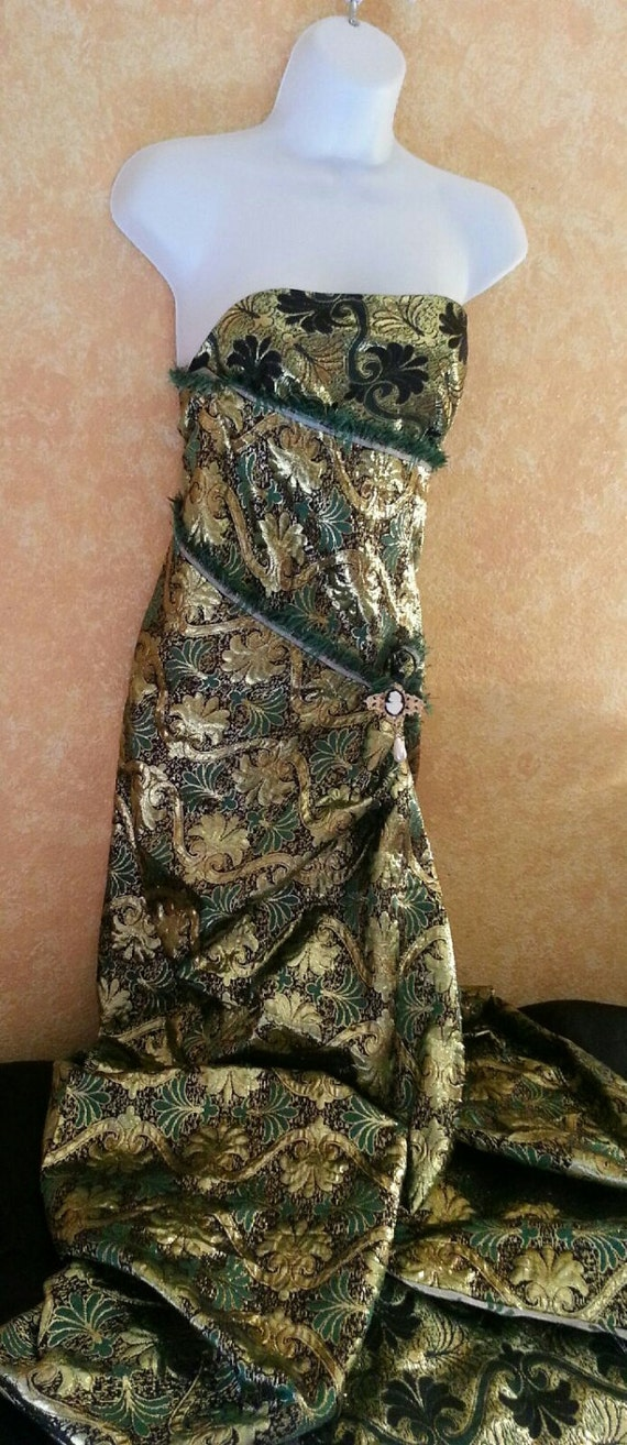 Green Bridal Gold Black Holiday Brocade Chartreuse Formal Party Maxi Exotic Metallic Wrap Gown Cameo Kelly Strapless Costume Dress Wedding nqxwgA