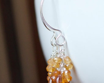 Hessonite Garnet Earrings, Handmade Sterling Silver Jewelry.