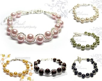 Swarovski Bracelet;Crystal Bracelet;Glass Pearl Bracelet, Swarovski Pearl Bracelet by CandyBead