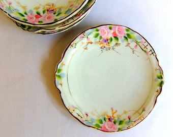 Set of 5 Vintage Handpainted Porcelain China Plates - Japan, Pink Blue Green Gold Floral, Side Dessert Plates, Chinoiserie, Art Deco, Spring