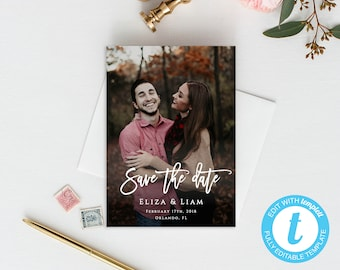 Save The Date Photo Template Custom Save The Date Template Wedding Save The Date Printable Invite Picture Save The Date Editable Template