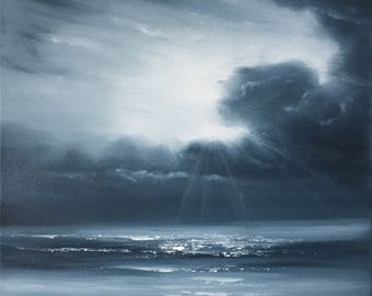 Black and White Beach Painting, Monochrome Ocean Art, Seascape, Monochromatic Coastal Landscape, Original Oil Painting on Canvas, Hope