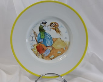"Limoges porcelain plate hand painted ""willowing"" by Mathurin Méheut"