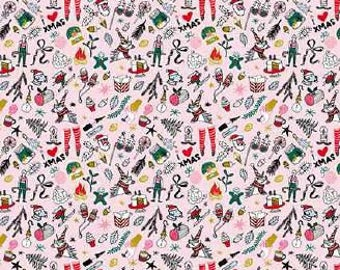 Cotton fabric sewing printed drawings on pink x50cm Christmas themed
