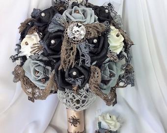 Bronze Wedding Bridal Flower Bouquet-Skull wedding-Fantasy-Gothic Wedding-Black-Grey-Bronze-Wedding Flowers-Victorian Gothic-Brides Flowers