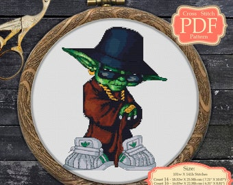Star Wars Cross Stitch PDF Pattern - Yoda - counted ctross stitch - nursery art