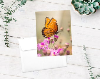 Butterfly Flower Photography Cards - Stationery - Fine Art Photography Cards - Monarch Butterfly - Butterfly Purple Pink Note Cards - 5 pk.