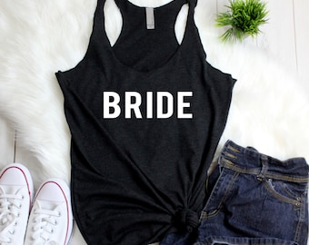 Bride Wedding Day Tanks - BRIDE - Bridal Party Squad Tribe Women's Racerback Tank