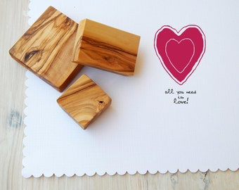 All You Need Is Love 2 Piece Olive Wood Stamp Set