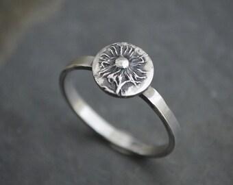 Botanical Ring, Plant Ring, Nature Ring, Silver Stacking Ring, Aster Ring, Wildflower Ring, Nature Inspired Ring, Prairie Ring, Size 7