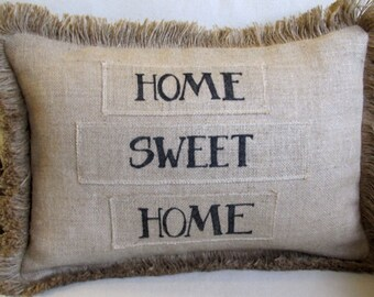 HOME SWEET HOME natural burlap pillow handmade and hand lettered