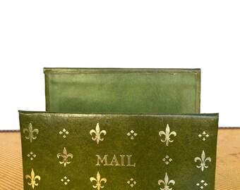 "Retro Green Leather ""Mail"" Holder, Vintage"