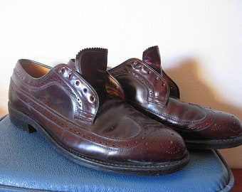 Vintage 70s Oxblood Leather Johnson Murphy Executive Collection Wingtip Men's Shoes Size 11
