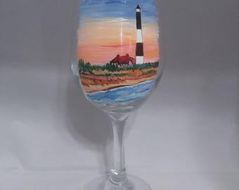 Handpainted Fire Island Lighthouse at Sunset Wine Glass